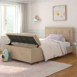 DHP Daria Upholstered Bed with Storage Chest in Ivory Velvet