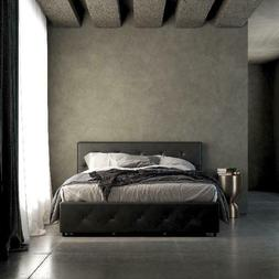 dean black faux leather upholstered queen bed