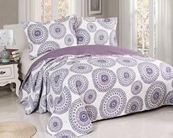 Disperse Printing Quilt Set Purple Queen Size 3-Piece includ