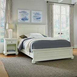 Dover White Queen Bed and Night Stand