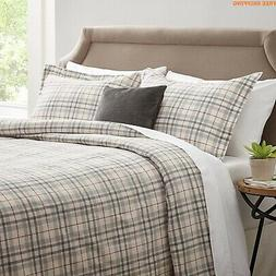 Duvet Set Flannel Yarn-Dyed Rustic Windowpane Soft warm Bedd
