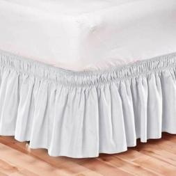 Elastic Bed Skirt Dust Ruffle Easy Fit Wrap Around White Col