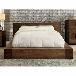 Furniture of America Elbert Queen Platform Bed in Rustic Nat