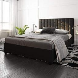 DHP Emily Upholstered Faux Leather Platform Bed with Wooden
