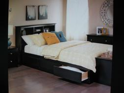 espresso queen platform storage bed with headboard