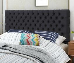 Fabric Headboard Queen Black Diamond Button Tufted Steel Fra