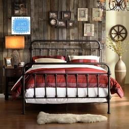 Farmhouse Bed Frame Metal Queen Rustic Bronze Chic Victorian