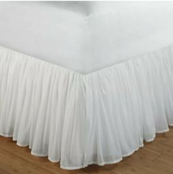 Greenland Home Fashions Cotton Voile 18-Inch White Bed Skirt