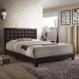 Queen Size Bed Frame Platform Faux Leather Headboard Wood Be