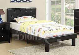 Poundex Faux Leather Upholstered Twin Platform Bed in Black