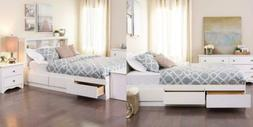 Prepac Full Mate's Platform Storage Bed with 6 Drawers, Whit