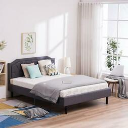 Full / Queen Bed Frame Upholstered Platform Bed with Headboa