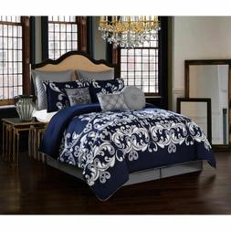 Full Queen King Bed Navy Blue Silver Gray Grey Damask 10pc C