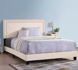 Upholstered Platform Bed Frame with Wooden Slats&Nailhead Fu