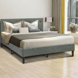 FULL/Queen Size Diamond Stitched Headboard Platform Bed  Fra