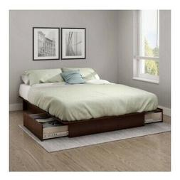Full Queen Size Royal Cherry Wooden Platform Bed Frame Under