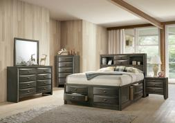 Gray Emily Ultimate Storage Bed King or Queen Platform Bedro