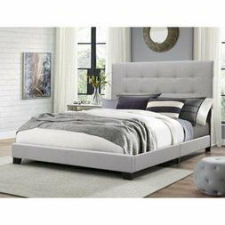 Gray Queen Bed Frame Tufted Headboard Platform Bed with Slat