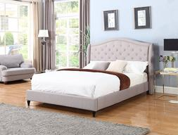 GREY Curved Diamond Tufted Nail QUEEN Size Platform Bed Fram