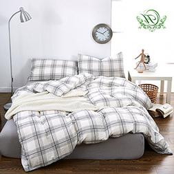 ON SALE Grey Plaid Luxury Queen Duvet Cover Set Double Yarn
