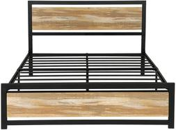Full Size Metal Platform Bed Frame with Rustic Country Style