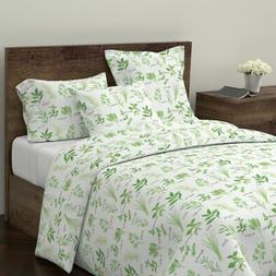 Herbal Kitchen Green Vintage Home Decor White Sateen Duvet C