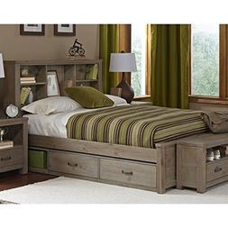 NE Kids Highlands Full Bookcase Storage Bed in Driftwood