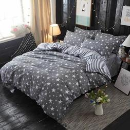 Home Textile Grey bedding star duvet cover set Printed bed s