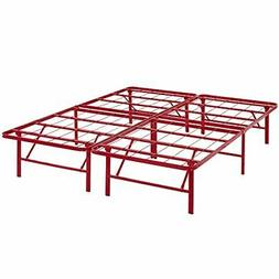 Modway Horizon Queen Bed Frame in Red - Replaces Box Spring