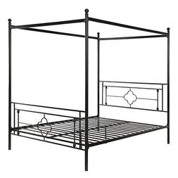 Homelegance 1758-1 Hosta Metal Canopy Bed, Queen, Black