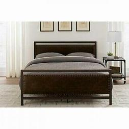 Industrial Upholstered Queen Size Platform Bed Nailhead Trim