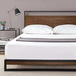 Zinus Suzanne Metal and Wood Platform Bed with Headboard / B