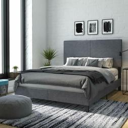 DHP Janford Upholstered Bed with Chic Design, Queen, Grey Li