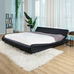 King/Queen/Full PU Leather Platform Bed Frame Upholstered He