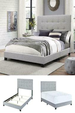 King Queen Full Size Platform Bed Wood Frame Tufted Headboar