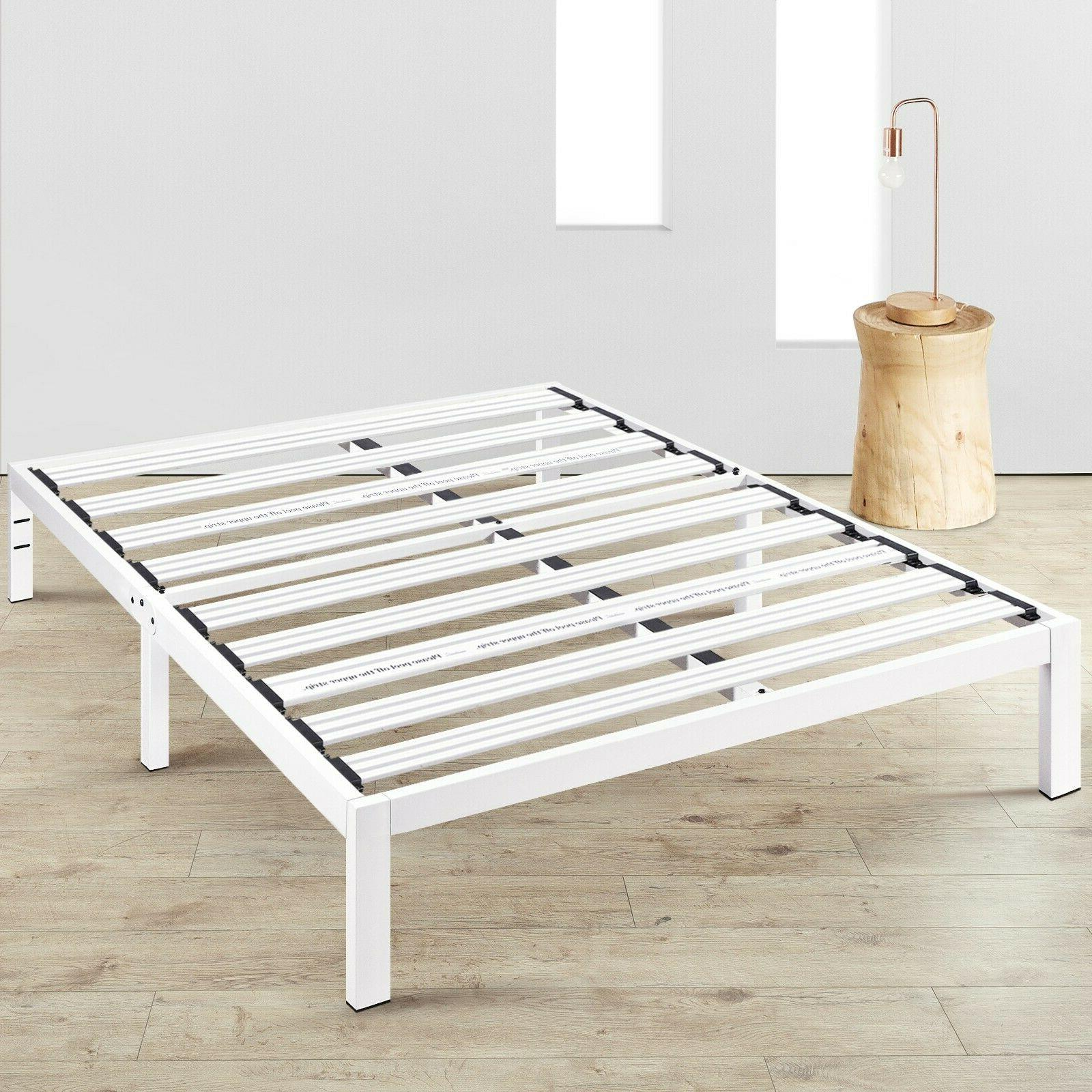 14'' Metal Platform Bed Steel Slat Support Underbed Storage
