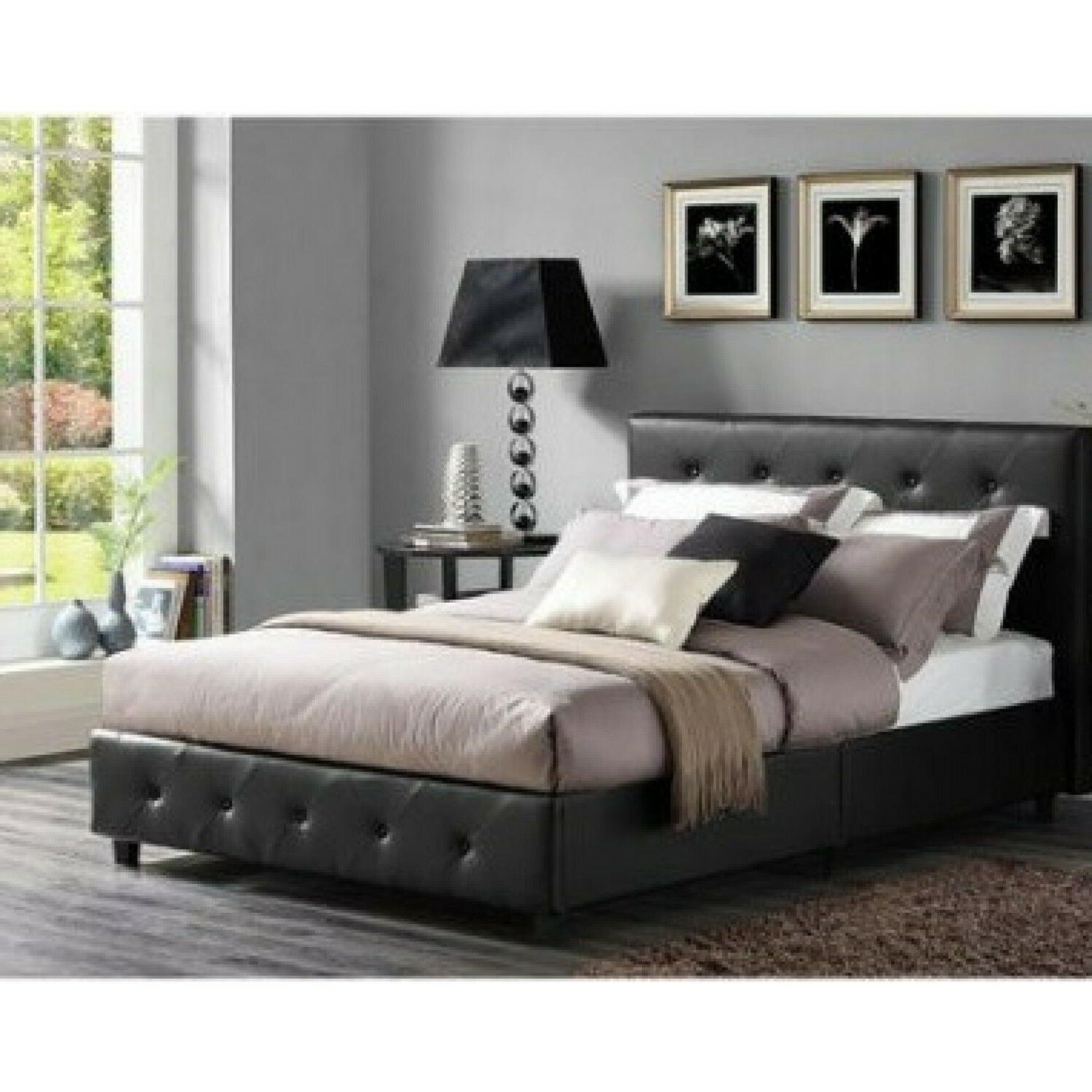 3 Piece Bedroom Set Queen Size Furniture Black Leather Bed 2