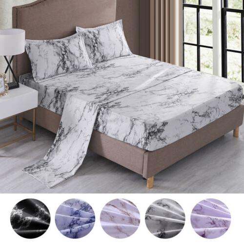4 piece marble 1800 count bed sheet