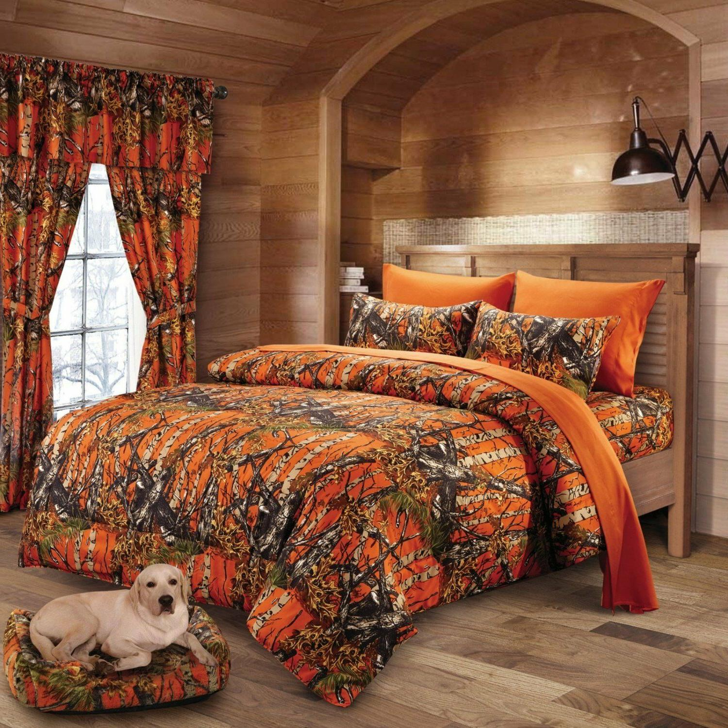 12 PC SET WOODS CAMO COMFORTER AND SHEET SET! KING! BED IN B