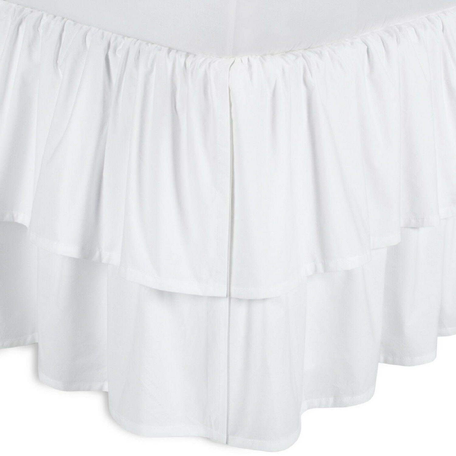 800-TC SPLIT Corner Gathered Bed Skirt with Top Ruffle White