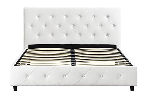 DHP Upholstered Leather Platform with Wooden Tufted Headboard and Queen -