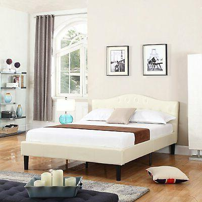 Deluxe Ivory Tufted Bonded Leather Platform Bed with Wooden
