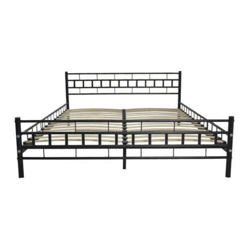 Durable Queen Size Slats Bed Platform Headboard Furniture Black