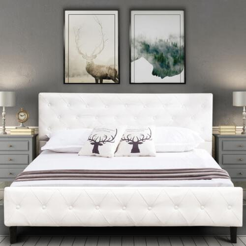 Full Size White PU Leather Button Tufted Upholstered Platfor