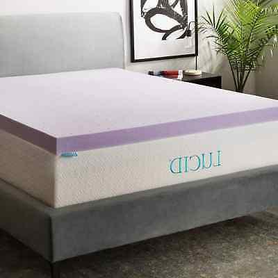 Lucid Queen Size Memory Foam Mattress Topper Bed 3 Inch Orth