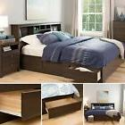 Platform Bed Frame Queen Size Wooden Bedroom Furniture 6 Dra