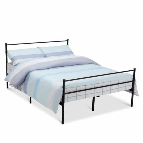 Queen Size Metal Bed Frame Platform Headboards 6 Leg Bedroom