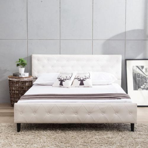 Queen Size White Pu Leather On Tufted Upholstered Platfo