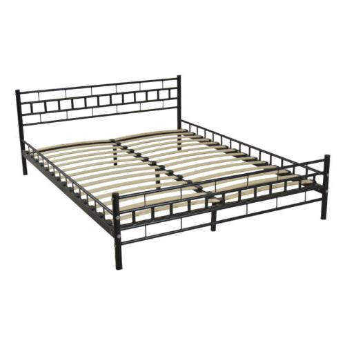 New Black Queen Wood Slats Bed Frame Platform Headboard Foot