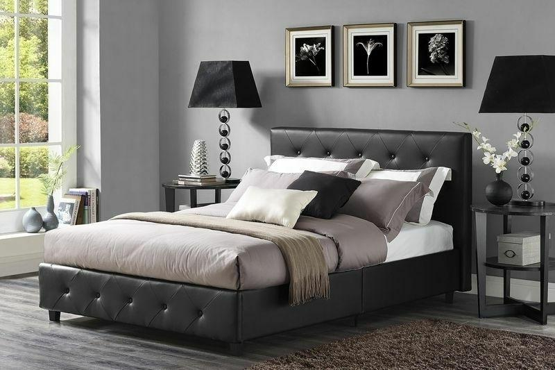 Queen Sz Bed Faux Leather Upholstered Frame Bedroom Furnitur